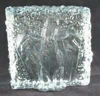 Ice Block Paperweight Hand Blown Art Glass Textured with Relief Eagle Blue Tint