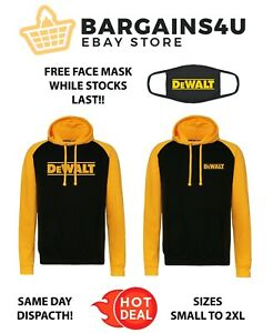 DeWalt Yellow / Black Logo Hoodie Sweater Top Sizes S - 2XL Power Tool Work Wear