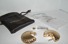 Roberto Coin Gold 18k 2 sided Sterling Silver Huggie Earrings NEW