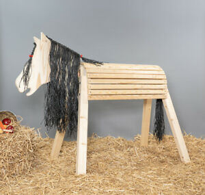 Holzpferd, Voltigierpferd, Sitzhöhe ca.115cm, mit Flechtmähne, ohne Lasur