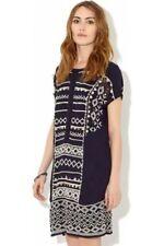 New MONSOON Betty Navy Blue Ivory Chiffon Embroidered Shift Dress 10 12 rrp £89