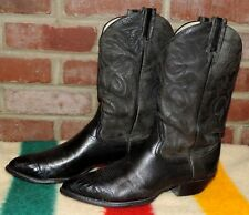 LARRY MAHAN MEN'S HANDMADE BLACK CALF LEATHER LIZARD WINGTIP COWBOY BOOTS SZ 12B