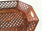 Large CARVED WOOD TRAY w Brass Inlay Open Cutwork Mid Century Indian Carving