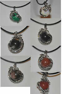"""Premium Dragon Pendant Necklace with 100% Real Leather Cord 20"""" + Lobster Clasp"""