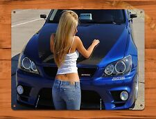 "TIN SIGN ""Blue Hood Calender Girl"" Vintage Car Pin Up Garage Auto"