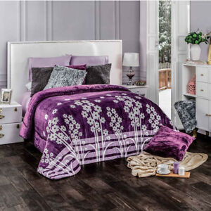 Purple and flowers Comforter Luxury Bedding Blanket thick soft wadding KING/QUEE