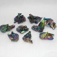 10Pcs/Lot 15g Natural Rainbow Aura Titanium Quartz Crystal Cluster VUG Specimens