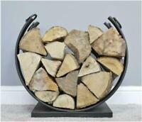 Metal Log Holder 50cm Rustic Black Oval Kindling Wood Storage Fireside Basket