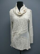RXB Cream Long Sleeves Cowl Neck Solid Casual Blouse Sweater Sz M EE7766