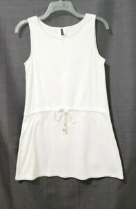 Anne Cole Cover Up Swim Tunic Top Dress Small CRISP WHITE Waist Drawstring Tie