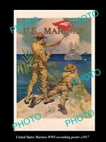 OLD LARGE HISTORIC PHOTO OF WWI USA MARINES MILITARY RECRUITING POSTER c1917 1