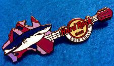 Gold Coast Surfers Shark Animal Map Wildlife Guitar Series Hard Rock Cafe Pin Le