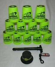 Official WSSA Genuine Speed Stacking 12 Cups Neon Green w/Quick Release Holder
