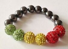 CHILDRENS STRETCHY RASTA COLOURS SHAMBALLA BRACELET- 6 DISCO BEADS- CRYSTAL