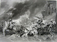 NINE YEARS WAR NAVY BATTLE OF BARFLEUR & LA HOGUE ~ Old 1850 Art Print Engraving