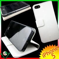 Pellicola+Custodia BOOK per iPhone 5 5S SE BIANCA cover martellata sottile STAND