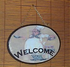 Fat Chef Oval Welcome Sign Wood Bistro Home Wall Decor Chefs Waiter
