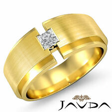 Shining Solitaire Princess Diamond Ring 18k Yellow Gold Mens Wedding Band 0.25Ct