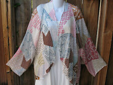 """ART TO WEAR SPRING PASTELS KIMONO TUNIC JACKET IN SILK BY ARIS.A, 46""""B, MED!"""