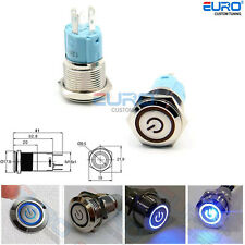 12V16mm Blue Push Button On/Off Switch Fog Light Lamp Angel Eye w/PreWire&Socket