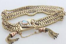 Antique Art Deco Opal & Pearl Medallion Lock Tassel Drop Multi Strand Bracelet