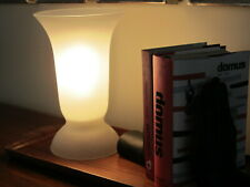 """Vintage Table Lamp Italian Art Glass White Frost Satined Vase shade 10"""" high"""