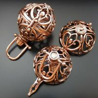 39673  Copper Tone Brass Cage  Lockets Angel Baby Caller Harmony Ball 2Pcs