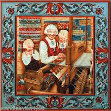 "Norwegian Trivet Tile  ""Norwegian Weaving""  Suzanne Toftey 6"" X 6"" Cork Back"
