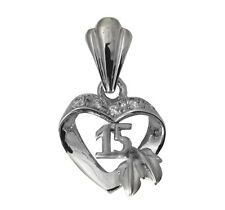 14K Real White Gold 15 Anos Quinceanera Leaf Heart Cubic Zirconia Charm Pendant