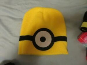 NWT Despicable Me Stuart One Eyed Minion Made Beanie Hat One Size Yellow