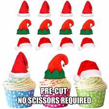 Precut Santa et ELF Chapeaux - 12 Comestible Cupcake Toppers Noël Gâteau Décorations