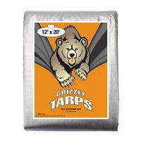 Grizzly 12x20 10Mil Tarps Heavy Duty Waterproof Tarp-Camping/Boats, Silver