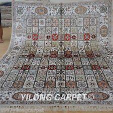 Yilong 8'x10' Large Silk Area Rug Hand-knotted Garden Scene Carpet Handmade 1256