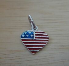 Sterling Silver 14x13mm Enamel Red White Blue US Flag Heart Charm