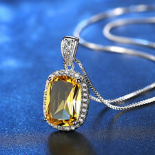 Korean Women White Gold Filled Micro-inlay Crystal Yellow Oval Pendant Necklace