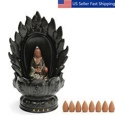 Black Porcelain Ceramic Incense Burner Holder Backflow Buddhist Home w/ 10 Cones