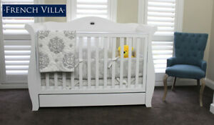 French Villa Baby Sleigh Cot White Made From Solid Timber & Eco-friendly Paint