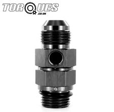 "AN -10 (AN10) Male to 1/2"" BSP Male With a 1/8"" NPT Side Port Adapter In Black"