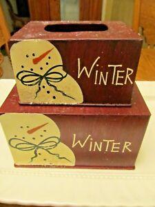 Set Of 2 WINTER ---Tissue Box Cover-- Napkin Holder--Toilet  Paper Metal Holder