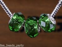 10pcs 15mm Lampwork Glass Faceted European Charm Loose Big Hole Bead Grass Green