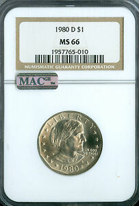 1980-D SBA DOLLAR $1 NGC MAC MS66 2ND FINEST REGISTRY SPOTLESS   *