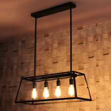 American Country Clear Glass Square Box 4 Bulbs Black Iron Kitchen Pendant Light