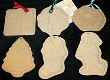 Lot of 6 Brown Bag Cookie Art Molds Christmas Stocking Wreath Tree Partridge