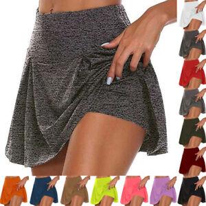 Women Girl Sport Skorts Gym Tennis High Waist Shorts Mini Skirts Dress Plus Size