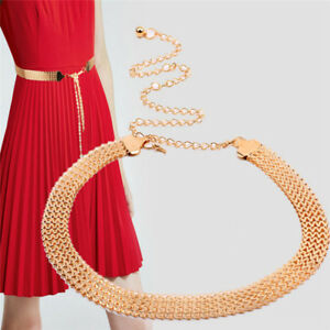 Fashion Wave Metal Waist Chain Belt Gold Buckle Body Chain Dress Belt L3