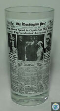 Washington Post Newsprint Front Page Headline Glass Tumbler 12 oz