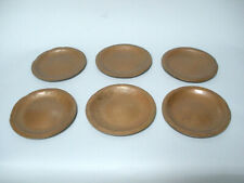 """(6) Antique Hand Hammered Copper Arts and Crafts Side Plates Set 6"""""""
