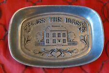 """Vintage Pewter Dish-""""Bless This House�"""