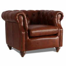 MarquessLife 100% Genunie Leather Handmade Tufted Couch Chesterfield Single Sofa