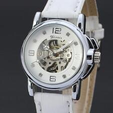 Women Automatic Mechanical Wrist Watch Luxury Dress White Leather Band Skeleton